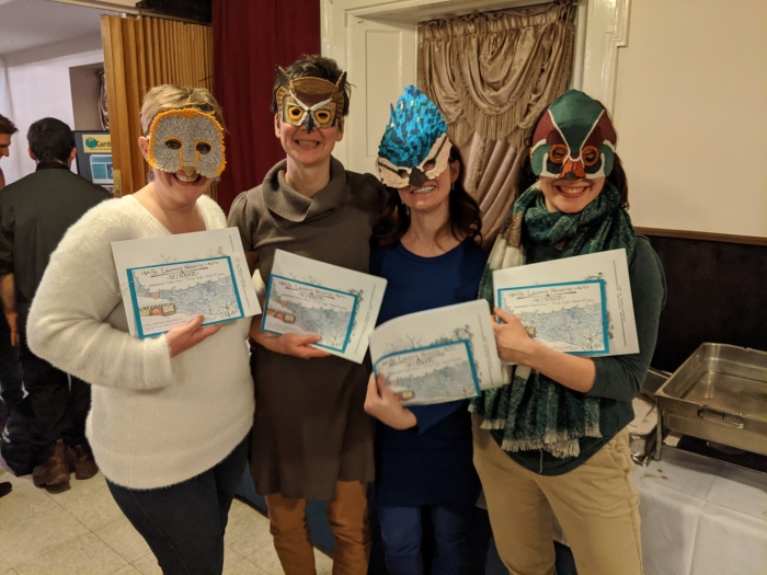 Team with bird masks on at the 2020 Cabin Fever Trivia Night